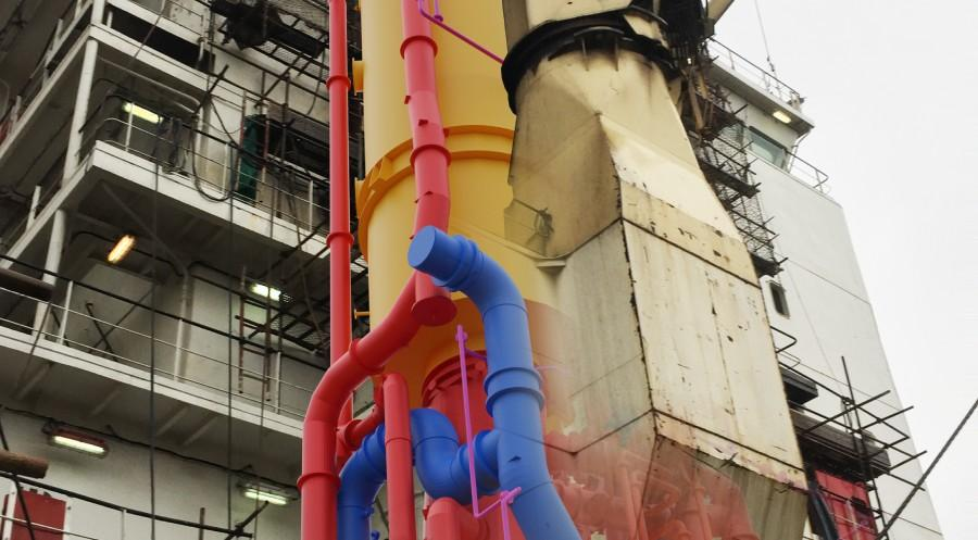 Coloured pipe instalation