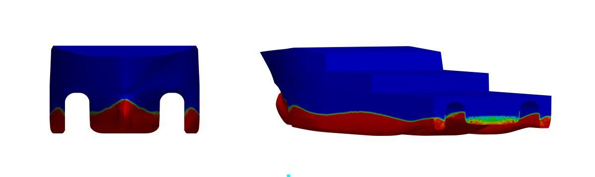 free surface profile interpolated on hull-surface